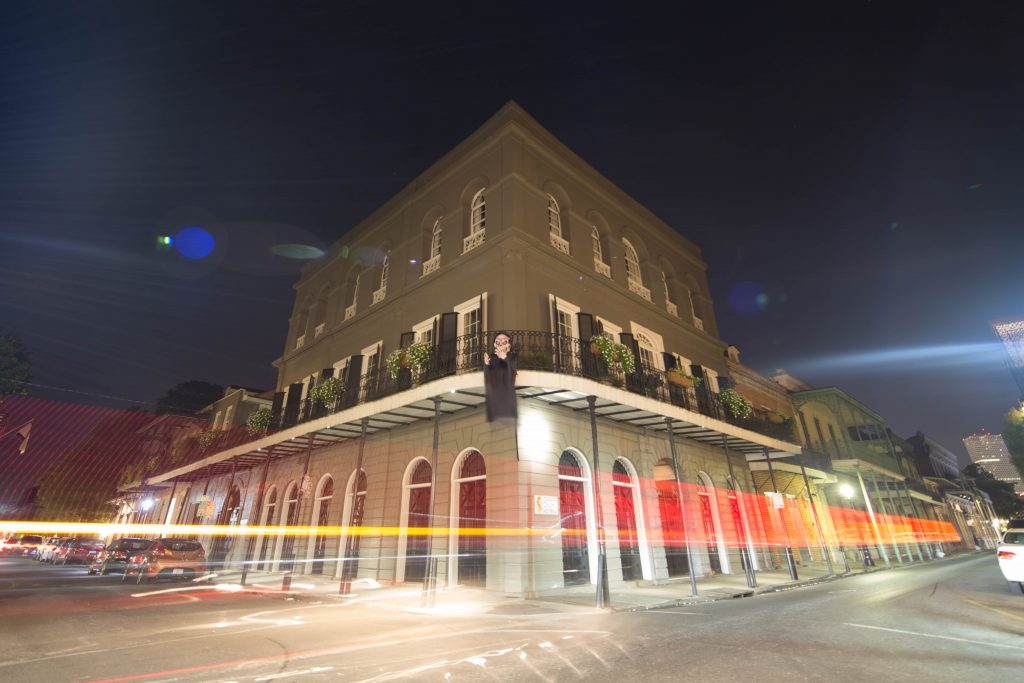 The LaLaurie Mansion at night.