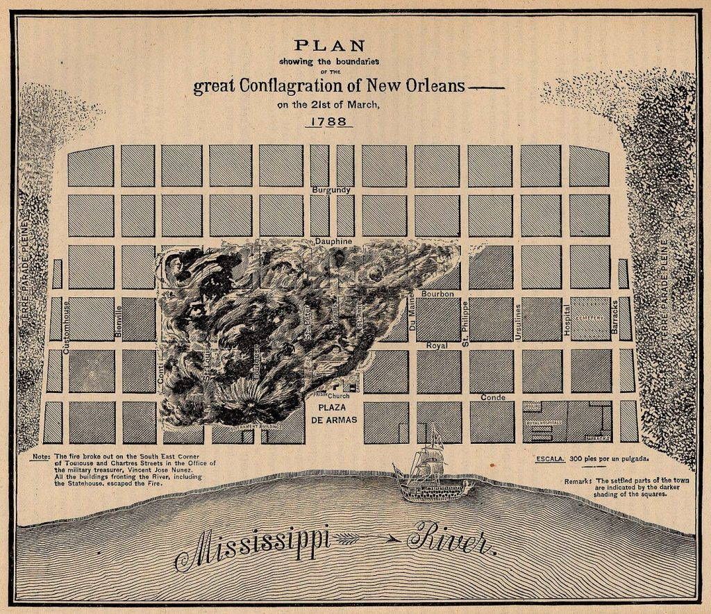 An 1886 map showing where the Great Fire of 1788 broke out.