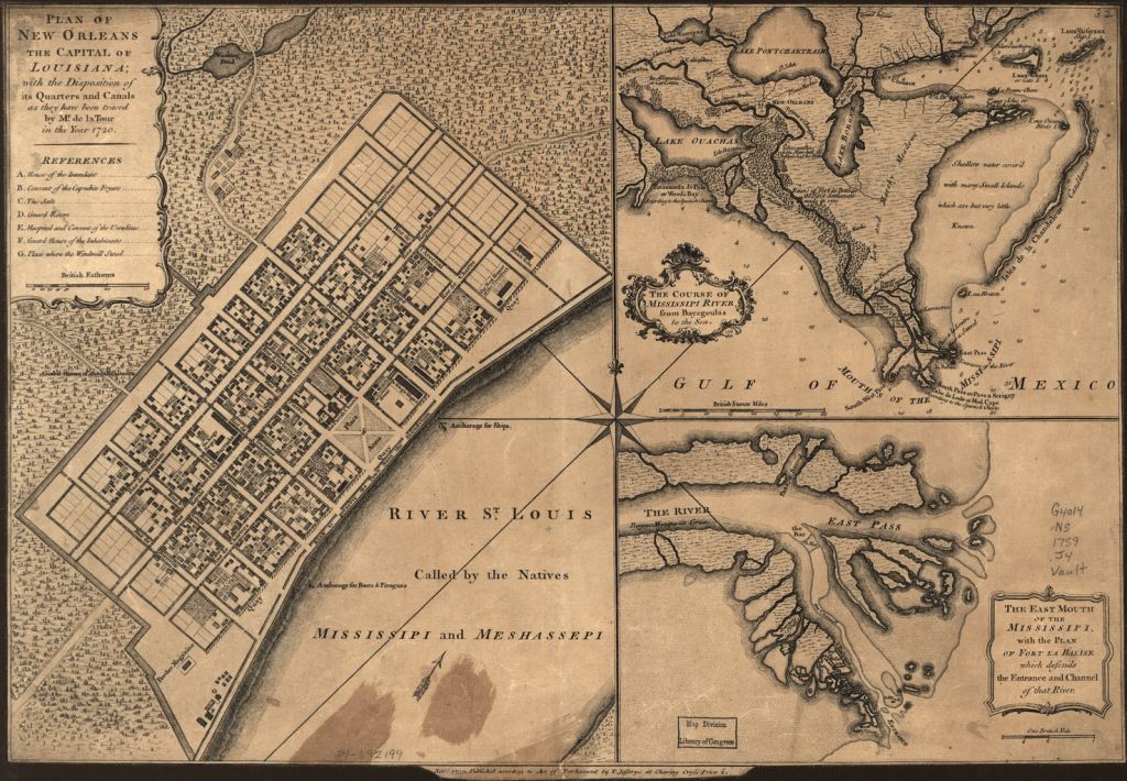 An early plan of New Orleans and its grid system