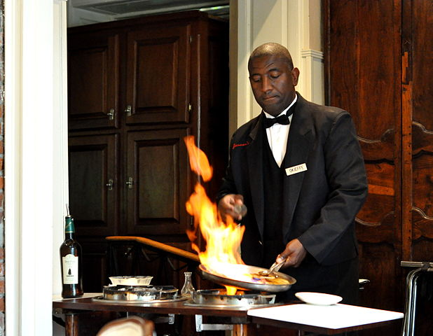Bananas Foster being prepared (flambéed) tableside at Brennan's.
