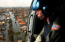 the us coast guard searches for survivors in new orleans in the wake of hurricane Katrina