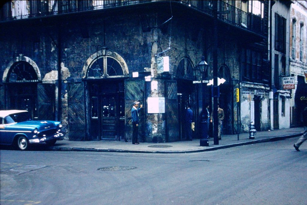 Front entrance of the Old Absinthe House in the mid 1950s