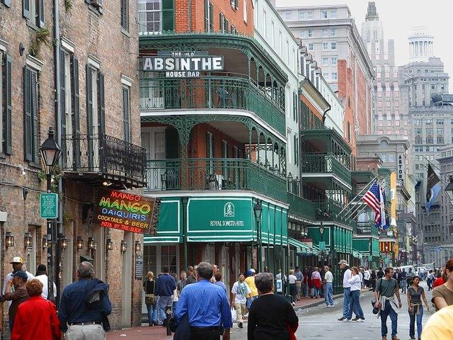 Looking down Bourbon Street in the French Quarter