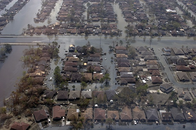 Aerial photo of a flooded residential area during Hurricane Katrina